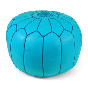 Sky Blue Moroccan Pouf Round Genuine Leather