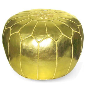 Gold Moroccan Pouf Round Eco Leather