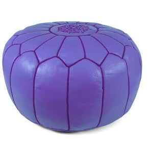 Lilac Moroccan Pouf Round Genuine Leather