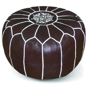 Chocolate Moroccan Pouf Round Genuine Leather