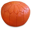 Orange Moroccan Pouf Round Genuine Leather