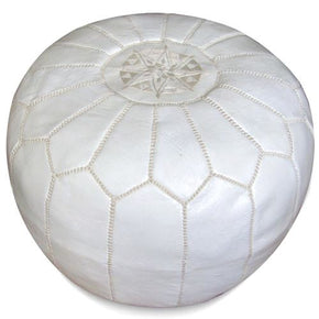 White Moroccan Pouf Round Genuine Leather