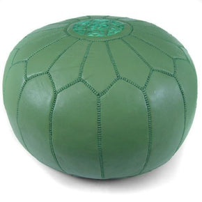 Green Moroccan Pouf Round Genuine Leather