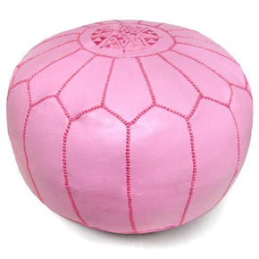 Pink Moroccan Pouf Round Genuine Leather