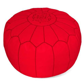 Red Moroccan Pouf Round Genuine Leather