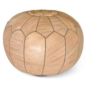 Tan Moroccan Pouf Round Genuine Leather