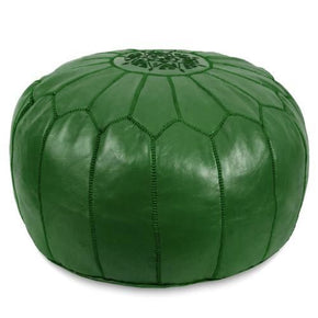 Dark Green Moroccan Pouf Round Genuine Leather