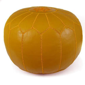 Mustard Moroccan Pouf Round Genuine Leather