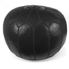 Black Moroccan Pouf Round Genuine Leather
