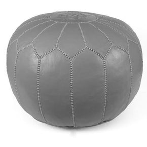 Grey Moroccan Pouf Round Genuine Leather