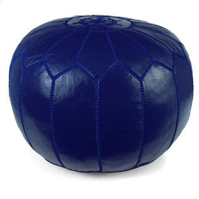 Navy Blue Moroccan Pouf Round Genuine Leather