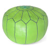 Lime Green Moroccan Pouf Round Genuine Leather