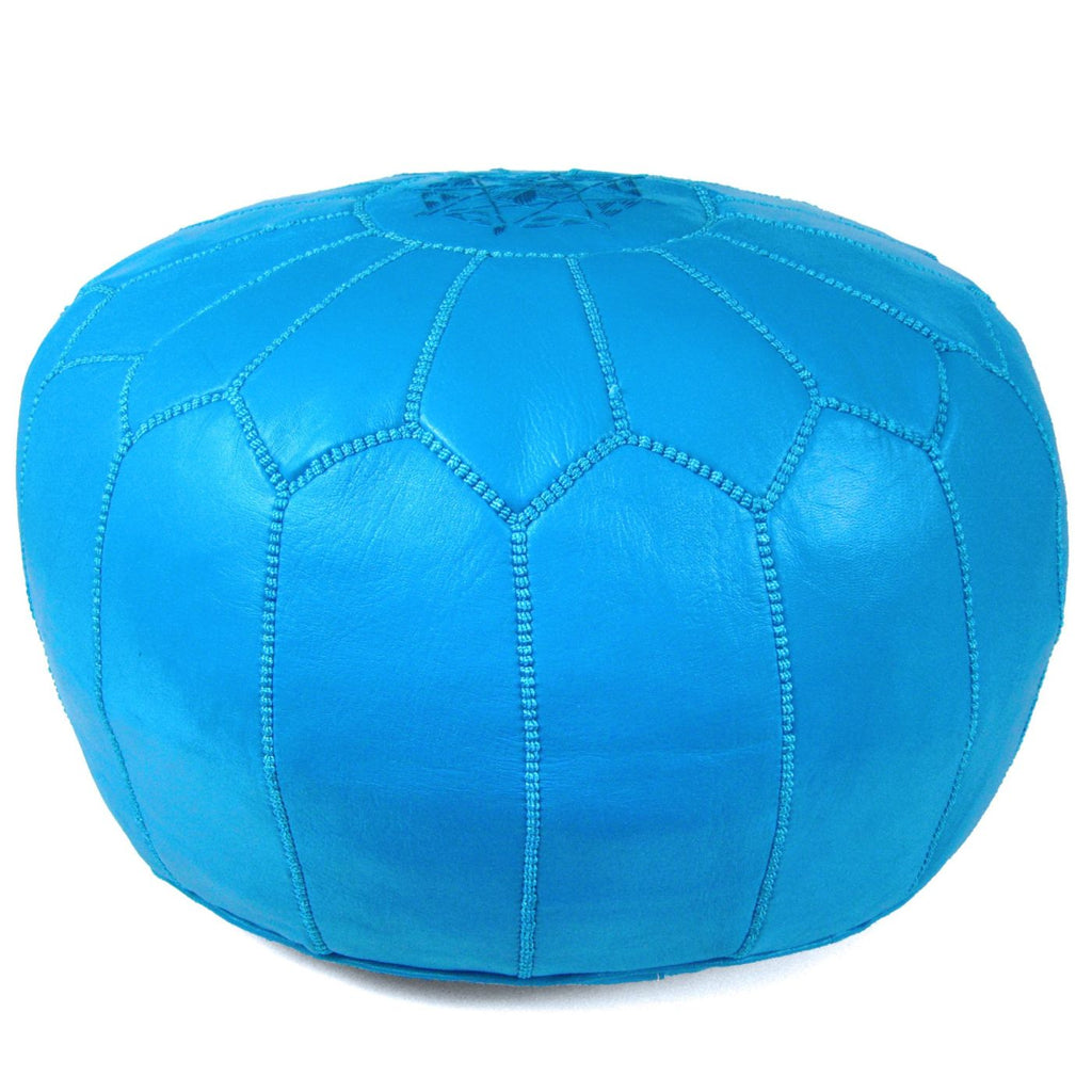 Blue Moroccan Pouf Round Genuine Leather