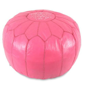 Dark Pink Moroccan Pouf Round Genuine Leather