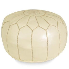 Cream Moroccan Pouf Round Genuine Leather