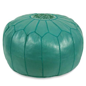 Teal Moroccan Pouf Round Genuine Leather