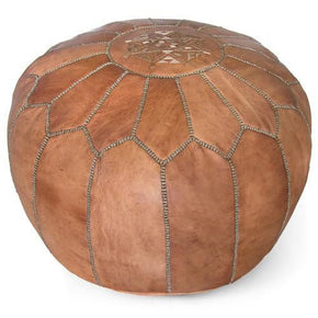 Dark Tan Round Genuine Leather Pouf