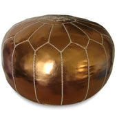 Bronze Moroccan Pouf Round Eco Leather