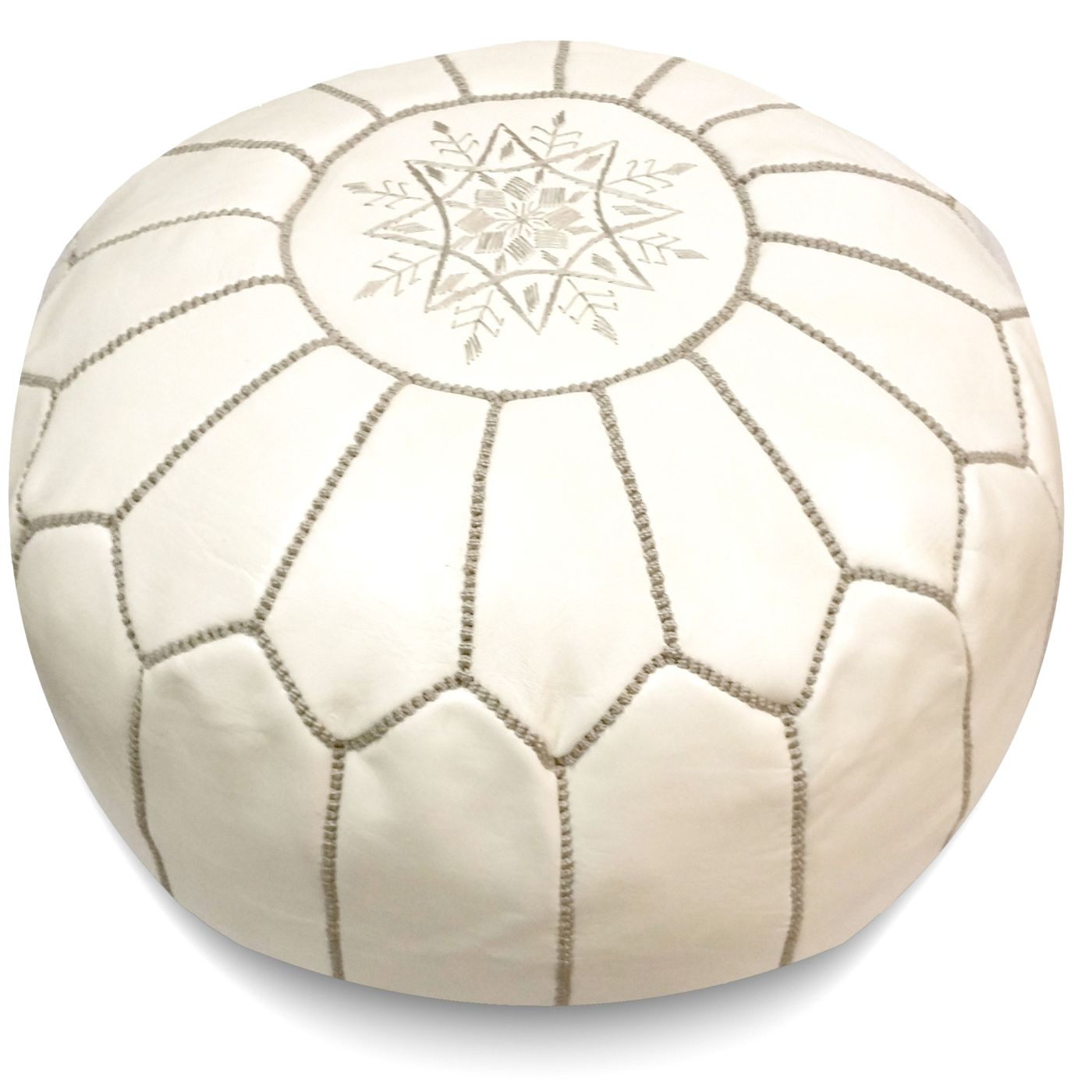 Buy Ikram Design PF045 White Moroccan Pouf With Grey