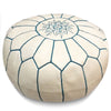 White Moroccan Pouf with Blue Stitching Round Genuine Leather