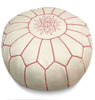 White Moroccan Pouf with pink Stitching Round Genuine Leather