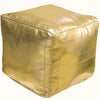 Square Moroccan Leather Poufs, Gold Square Eco Leather