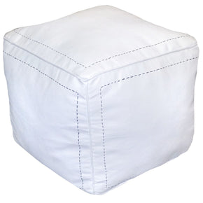 Square Moroccan Leather Poufs White Genuine Pouf