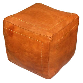 Square Moroccan Leather Poufs Dark Orange Genuine Pouf