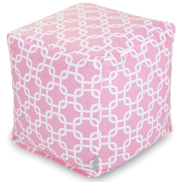 Soft Pink Links Small Cube Pouf