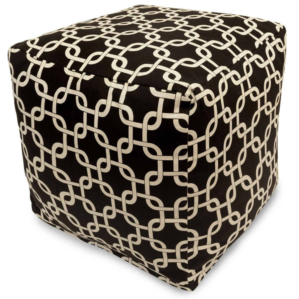 Black Links Small Cube Pouf