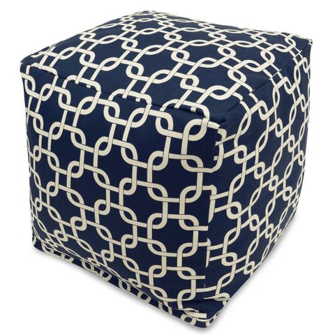 Navy Blue Links Small Cube Pouf