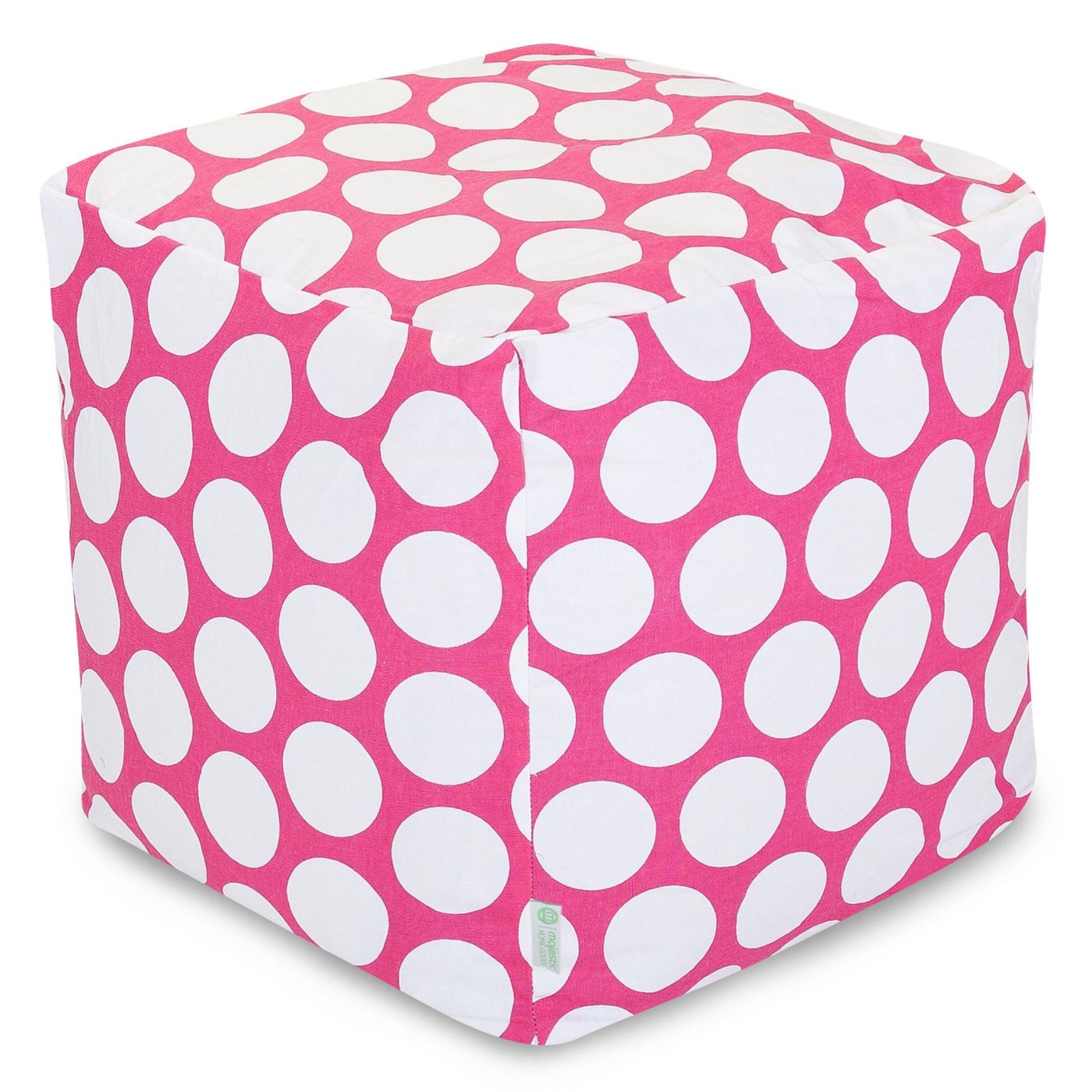 Majestic Home Hot Pink Large Polka Dot Small Cube