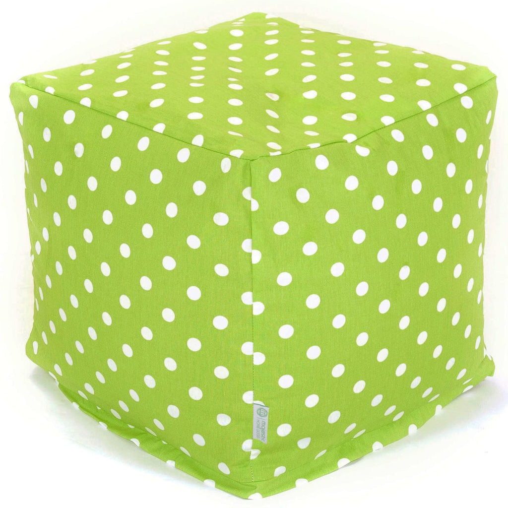 Lime Small Polka Dot Cube Pouf
