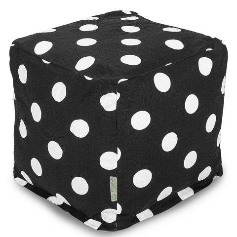 Black Large Polka Dot Small Cube Pouf