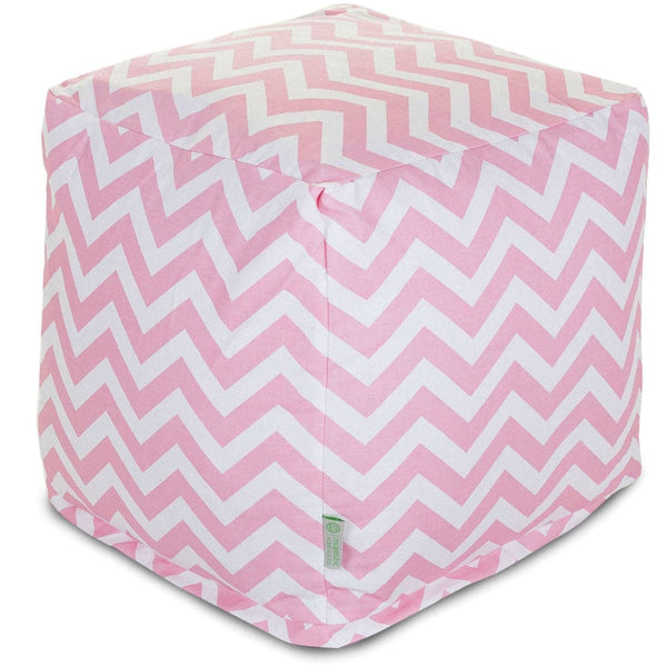 Baby Pink Chevron Small Cube Pouf