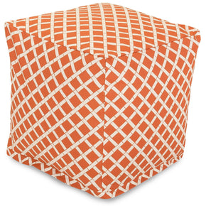 Burnt Orange Bamboo Small Cube Pouf