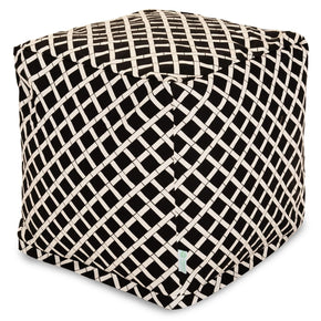 Black Bamboo Small Cube Pouf