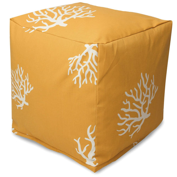Yellow Coral Small Cube Pouf