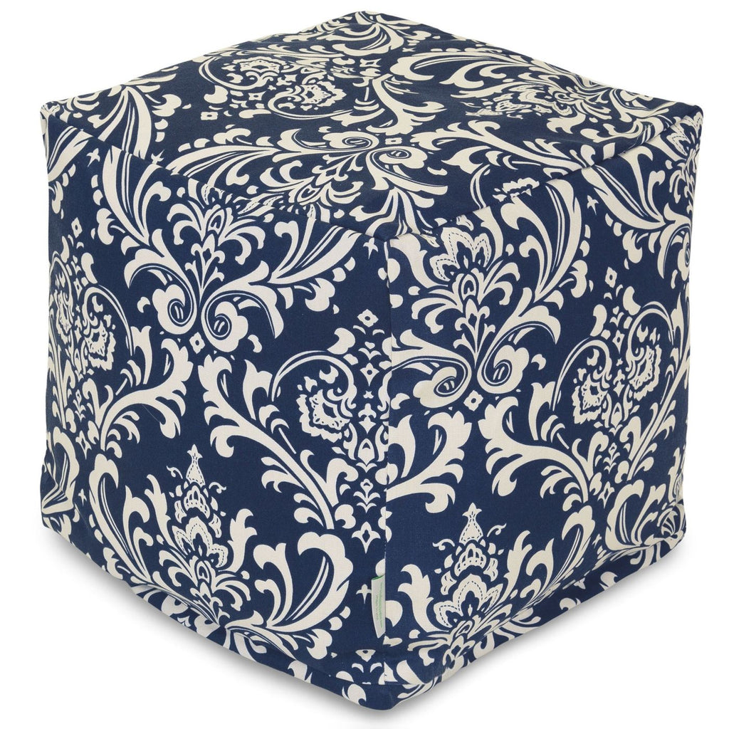 Navy Blue French Quarter Small Cube Pouf
