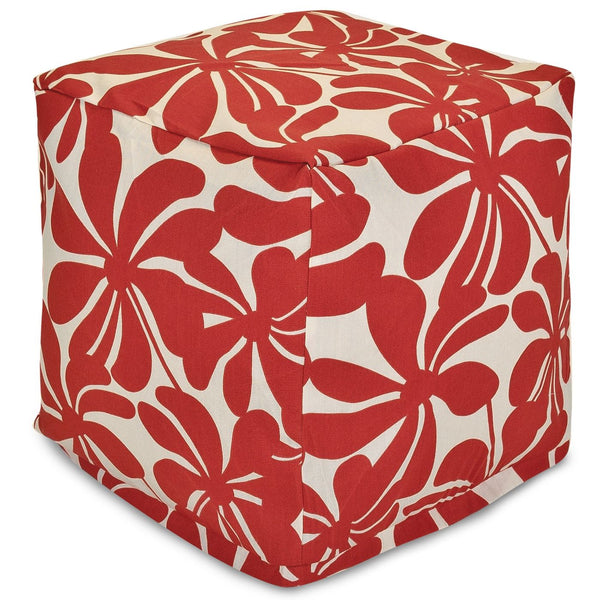 Red Plantation Small Cube Pouf