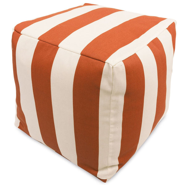 Burnt Orange Vertical Stripe Small Cube Pouf