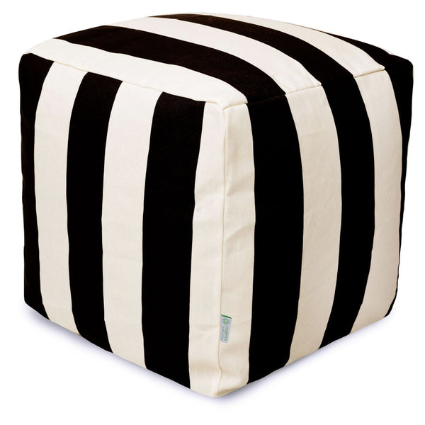 Poufs - Majestic Home 85907220123 Black Vertical Stripe Small Cube | 859072201230 | Only $66.70. Buy today at http://www.contemporaryfurniturewarehouse.com