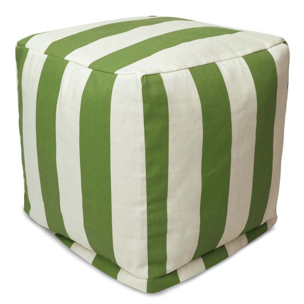 Sage Vertical Stripe Small Cube Pouf
