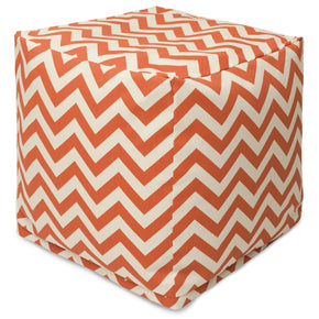 Burnt Orange Chevron Small Cube Pouf