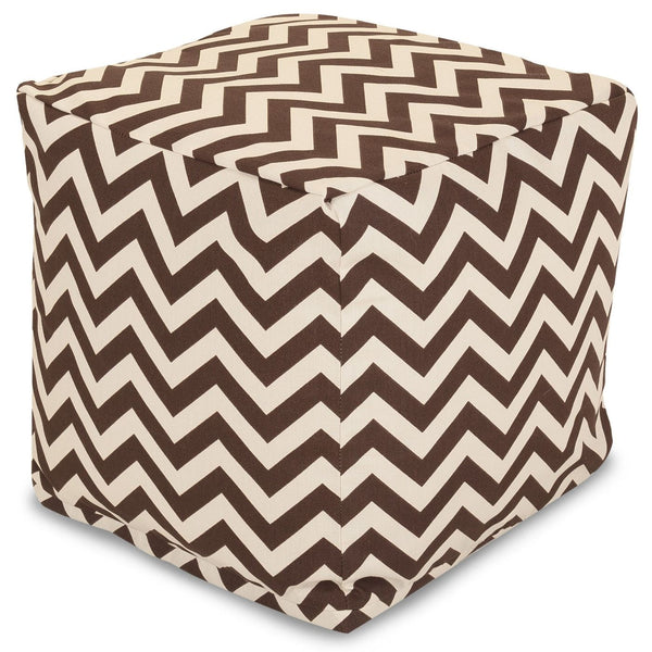 Chocolate Chevron Small Cube Pouf
