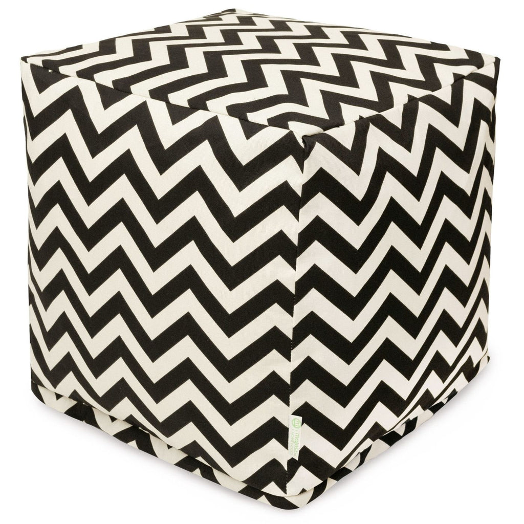 Black Chevron Small Cube Pouf