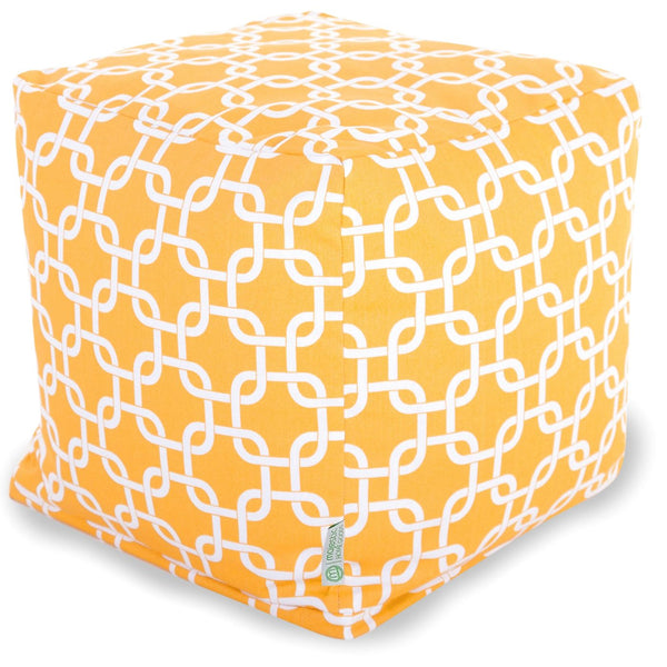 Yellow Links Small Cube Pouf