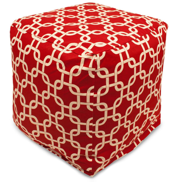 Red Links Small Cube Pouf