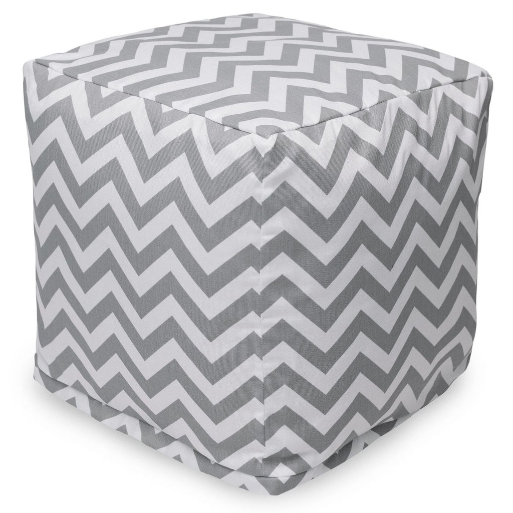Gray Chevron Small Cube Pouf