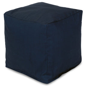 Navy Blue Solid Small Cube Pouf